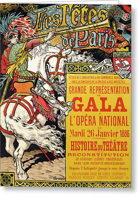 Shows Drawings Greeting Cards - Reproduction of a poster advertising the Fetes de Paris Greeting Card by Eugene Grasset