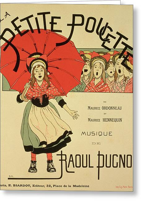 Umbrella Drawings Greeting Cards - Reproduction of a poster advertising the operetta La Petite Poucette Greeting Card by Louis Maurice Boutet de Monvel