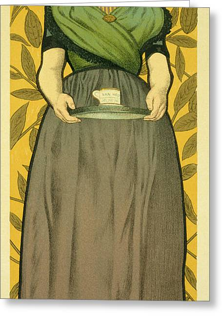 Waitresses Greeting Cards - Reproduction of a Poster Advertising Van Houten Cocoa Greeting Card by Adolphe Leon Willette