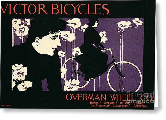 Bike Drawings Greeting Cards - Reproduction of a poster advertising Victor Bicycles Greeting Card by American School