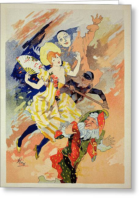Pierrot Greeting Cards - Reproduction Of A Poster Greeting Card by Jules Cheret