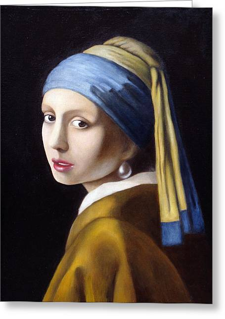 Girl With A Pearl Earring Greeting Cards - Reproduction of Girl with a Pearl Earring by Johannes Vermeer Greeting Card by Benita Mulokaite