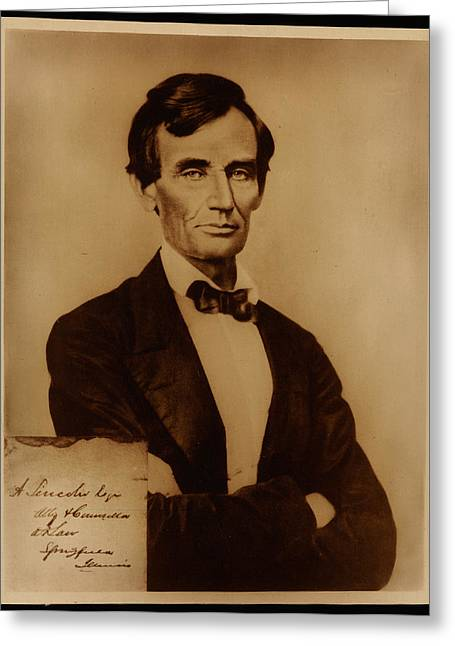 Shell Texture Greeting Cards - Reproduction print of Lincoln with signature inserted August 13 1860 Greeting Card by MotionAge Designs