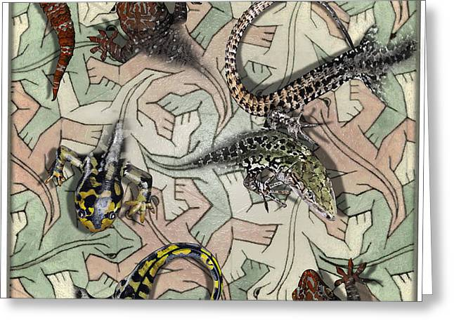 Fallen Leaf Mixed Media Greeting Cards - Reptiles - inspired by Escher - Elena Yakubovich Greeting Card by Elena Yakubovich
