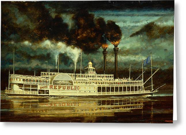 Steam Ship Greeting Cards - Grand Republic Steam Boat Greeting Card by Don  Langeneckert