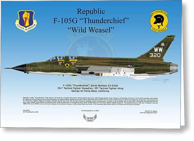 Republic F-105g Thunderchief Greeting Card by Arthur Eggers