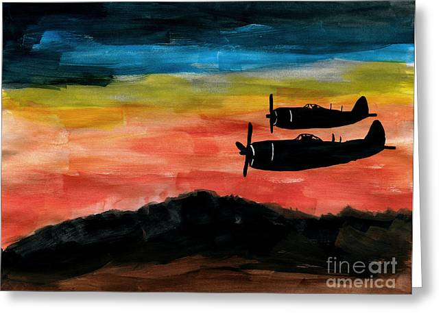 Propeller Paintings Greeting Cards - Republic P-47 Thunderbolts Greeting Card by R Kyllo