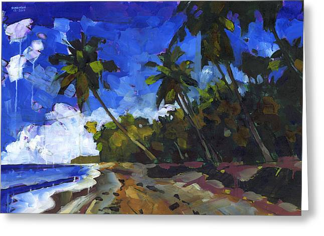 Tropical Beach Paintings Greeting Cards - Republica Dominicana Greeting Card by Douglas Simonson