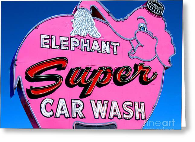 Seattle Framed Prints Greeting Cards - Elephant Super Car Wash Sign Seattle Washington Greeting Card by Tap On Photo