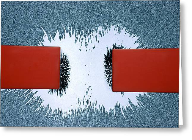 Magnetic Field Greeting Cards - Repulsion between like magnetic poles Greeting Card by Science Photo Library
