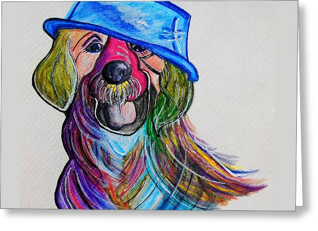 Colorful Greeting Cards - LAB Repurposing the Water Bowl Greeting Card by Eloise Schneider