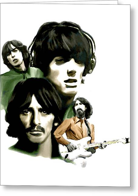 George Harrison David Pucciarelli Greeting Cards - Requiem George Harrison Greeting Card by Iconic Images Art Gallery David Pucciarelli