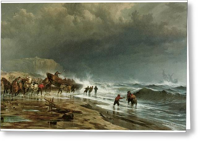 Storm On The Beach Greeting Cards - Rescue Along the Coast Greeting Card by Edward Moran