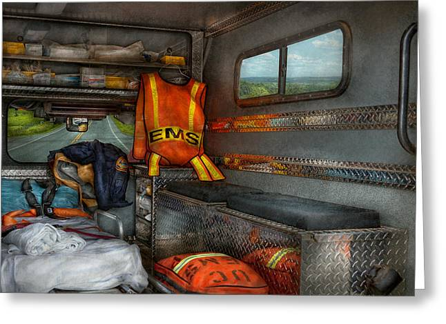 Suburbanscenes Greeting Cards - Rescue - Emergency Squad  Greeting Card by Mike Savad