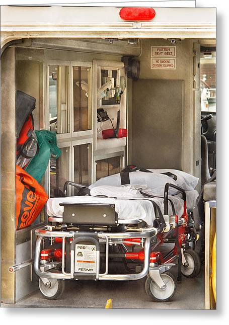 Gurney Greeting Cards - Rescue - Inside the Ambulance Greeting Card by Mike Savad