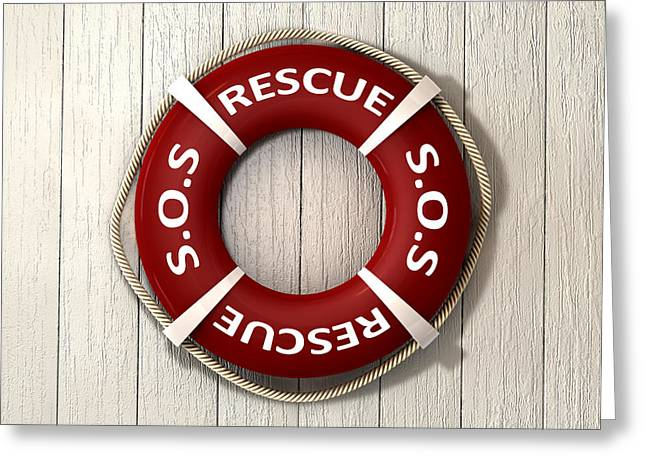 The Retrieve Greeting Cards - Rescue Lifebuoy Greeting Card by Allan Swart