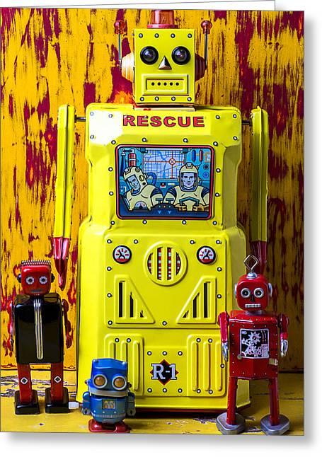 Robotic Life Greeting Cards - Rescue Robot Greeting Card by Garry Gay