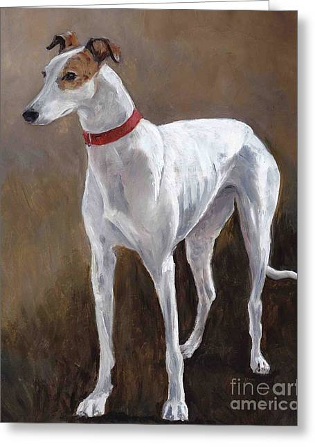 Greyhound Dog Greeting Cards - Rescued Racer Greeting Card by Charlotte Yealey