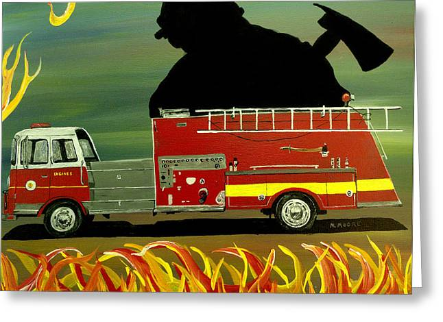 Mark Moore Paintings Greeting Cards - Rescuer Greeting Card by Mark Moore
