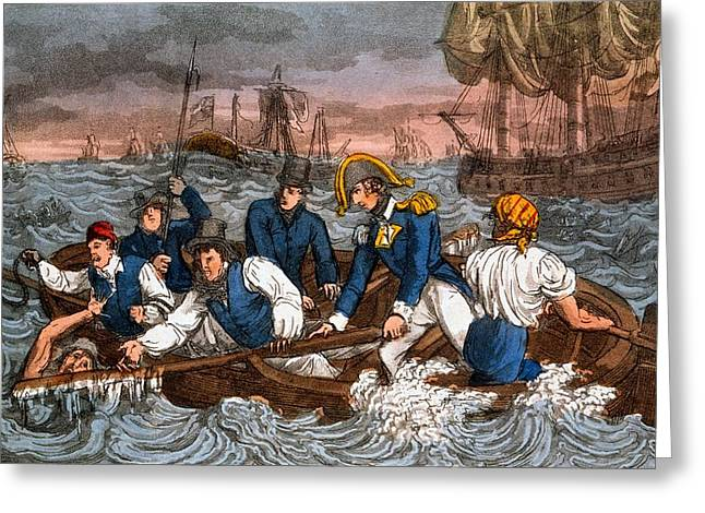 Sailor Greeting Cards - Rescuing A Sailor From The Sea Greeting Card by Charles Williams