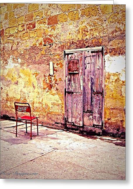 Rustic Tapestries - Textiles Greeting Cards - Reserved Parking Greeting Card by Georgina Mizzi