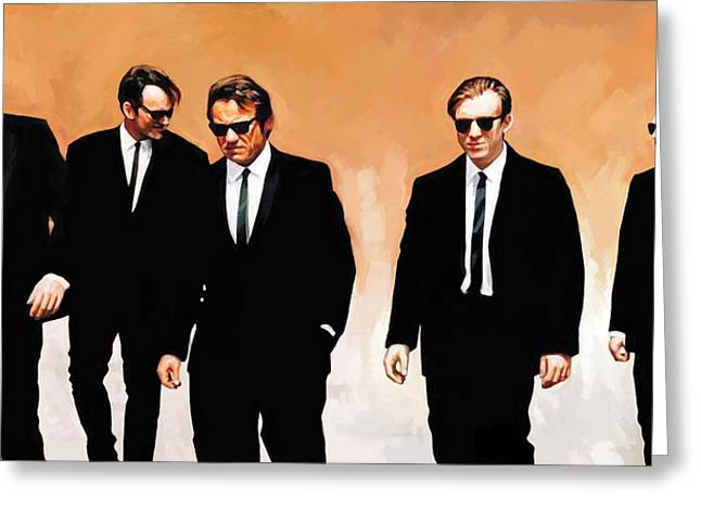 Movie Art Mixed Media Greeting Cards - Reservoir Dogs Movie Artwork 1 Greeting Card by Sheraz A