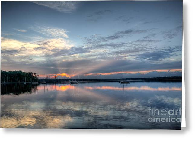 Manasquan Reservoir Greeting Cards - Reservoir Sunset Greeting Card by Michael Ver Sprill