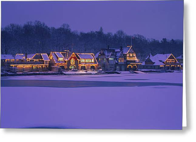 Winter Night Greeting Cards - Residential Building At The Waterfront Greeting Card by Panoramic Images