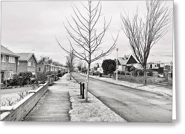 70s Greeting Cards - Residential street Greeting Card by Tom Gowanlock