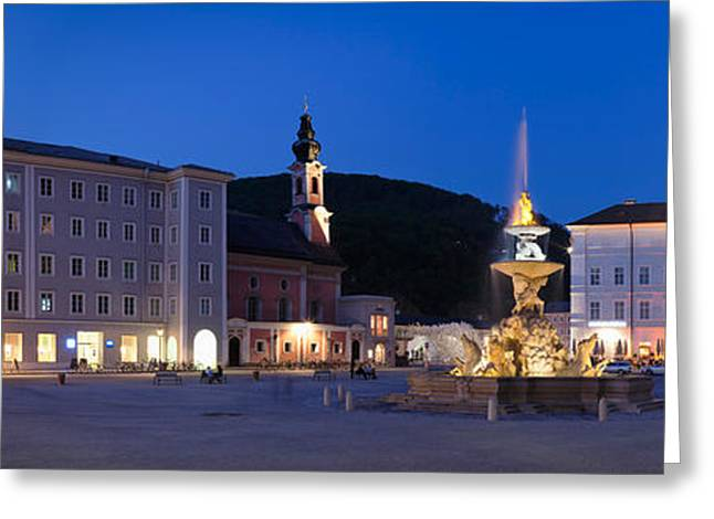Salzburg Greeting Cards - Residenz Fountain And Michaeliskirche Greeting Card by Panoramic Images