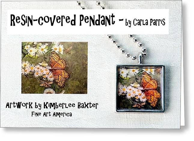 White Jewelry Greeting Cards - Resin Covered Pendant of Butterfly and Daisies Greeting Card by Carla Parris