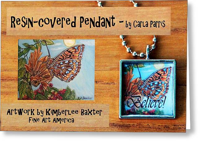 Flora Jewelry Greeting Cards - Resin Pendant with Butterfly and Sky Greeting Card by Carla Parris