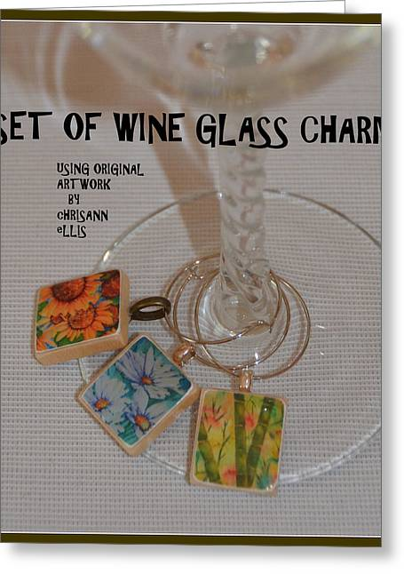 Colorful Jewelry Greeting Cards - Resin Wine Glass Charms Using Artwork by Chrisann Ellis Greeting Card by Carla Parris