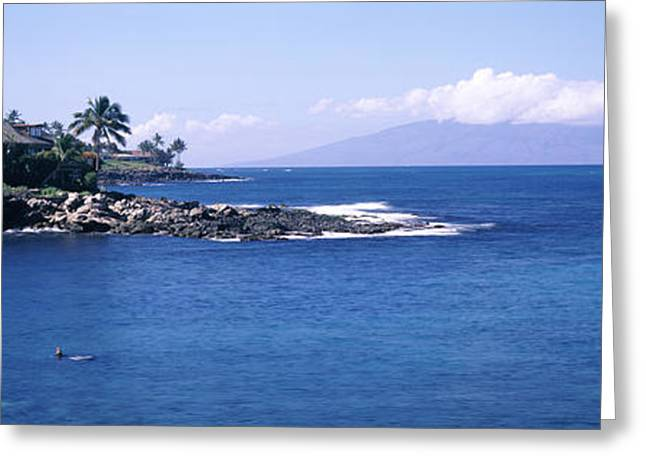 Lahaina Photographs Greeting Cards - Resort At A Coast, Napili, Maui Greeting Card by Panoramic Images