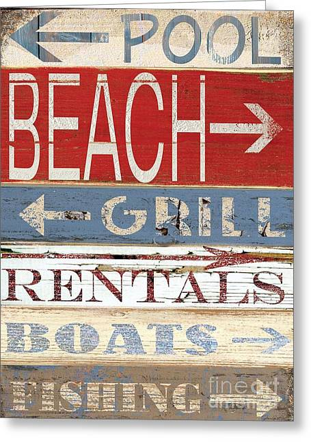 Shell Sign Paintings Greeting Cards - Resort Beach sign Greeting Card by Grace Pullen