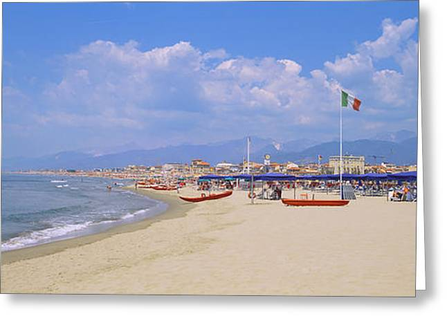 Tourist Resort Greeting Cards - Resort On The Beach, Viareggio Greeting Card by Panoramic Images
