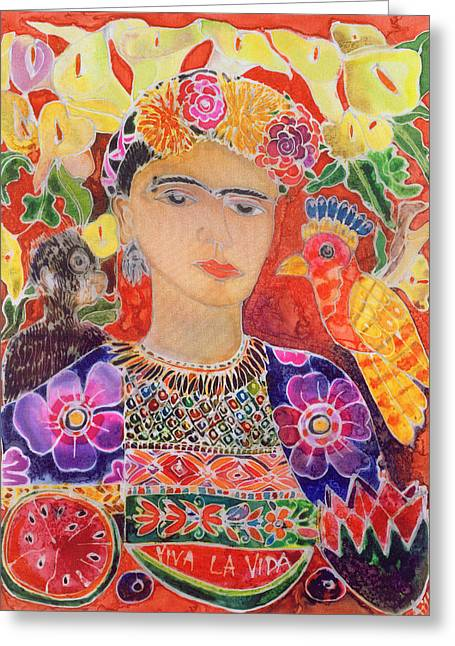 Mexican Flowers Greeting Cards - Respects To Frida Kahlo, 2002 Coloured Ink On Silk Greeting Card by Hilary Simon