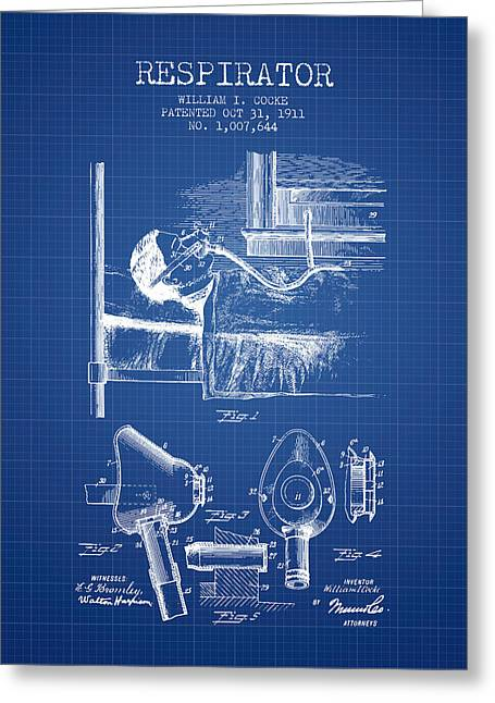 Respirator Greeting Cards - Respirator patent from 1911 - Blueprint Greeting Card by Aged Pixel