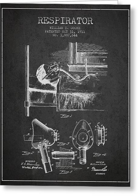 Respirator Greeting Cards - Respirator patent from 1911 - Charcoal Greeting Card by Aged Pixel