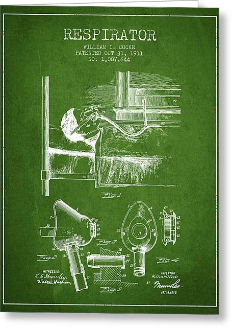 Medical Greeting Cards - Respirator patent from 1911 - Green Greeting Card by Aged Pixel