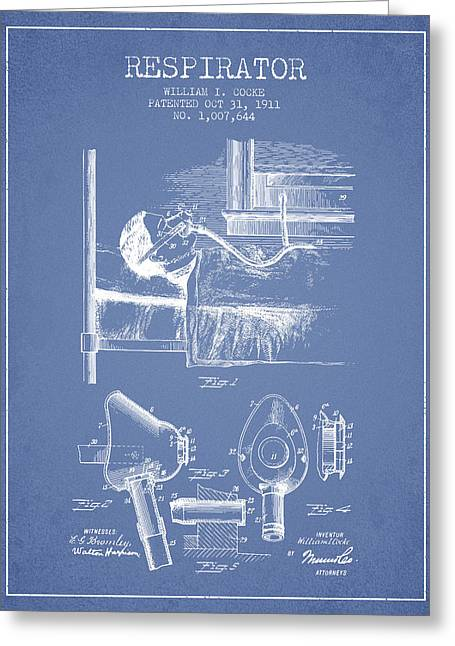 Respirator Greeting Cards - Respirator patent from 1911 - Light Blue Greeting Card by Aged Pixel