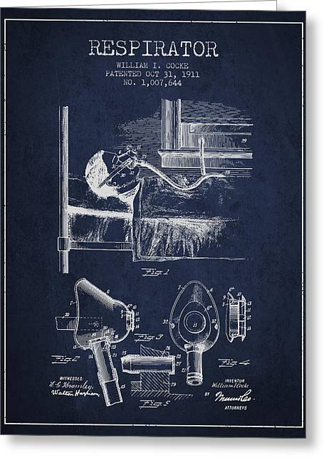 Respirator Greeting Cards - Respirator patent from 1911 - Navy Blue Greeting Card by Aged Pixel