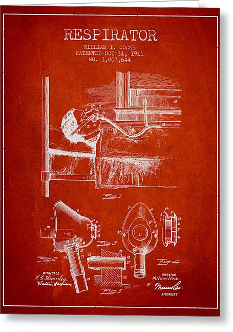 Respirator Greeting Cards - Respirator patent from 1911 - Red Greeting Card by Aged Pixel