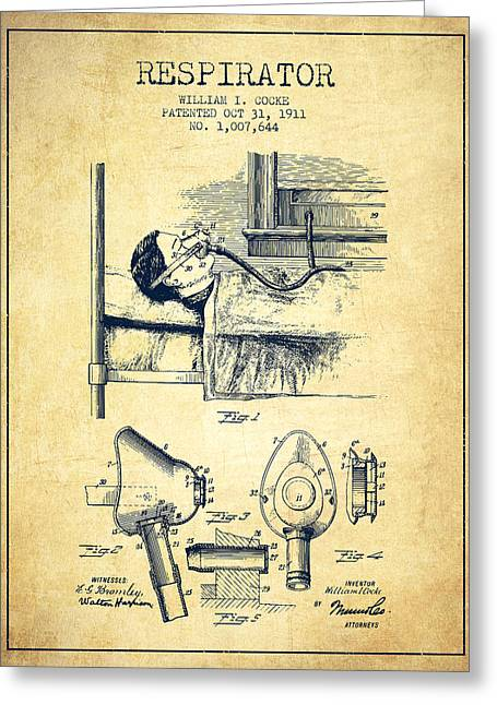 Anesthesia Greeting Cards - Respirator patent from 1911 - Vintage Greeting Card by Aged Pixel