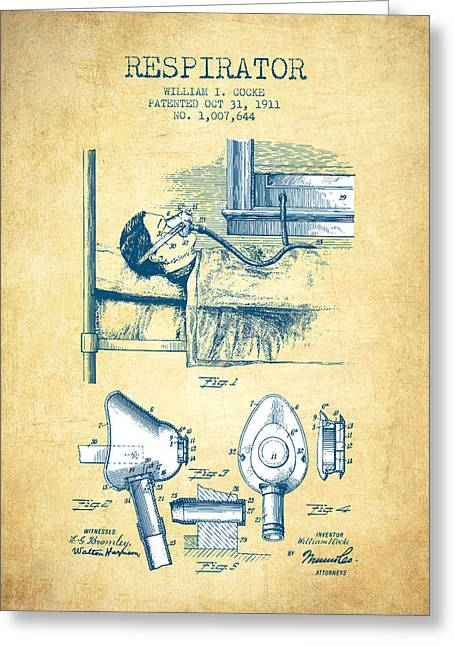 Anesthesia Greeting Cards - Respirator patent from 1911 - Vintage Paper Greeting Card by Aged Pixel