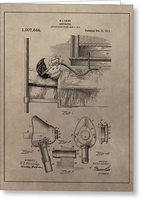 Respirator Greeting Cards - Respirator Patent Illustration 1911 Greeting Card by Dan Sproul