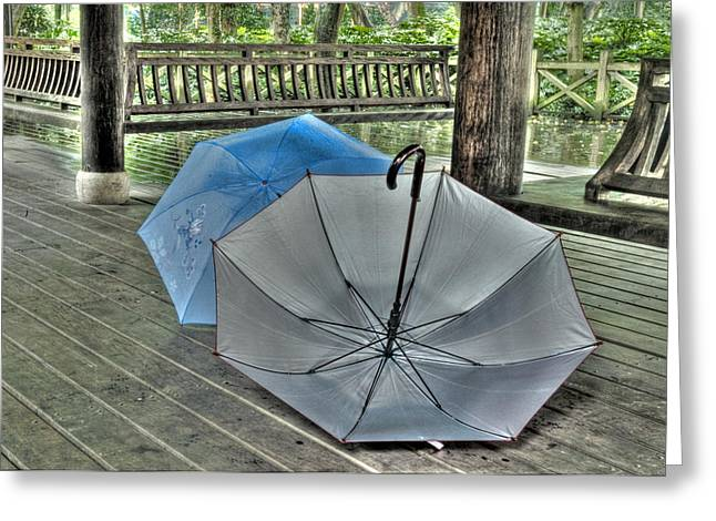 Umbrella Greeting Cards - Respite from the Rain 2  Hangzhou China Greeting Card by Rob Huntley