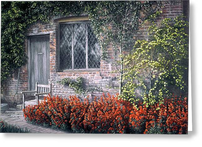 Red Buildings Pastels Greeting Cards - Rest Awhile Greeting Card by Rosemary Colyer