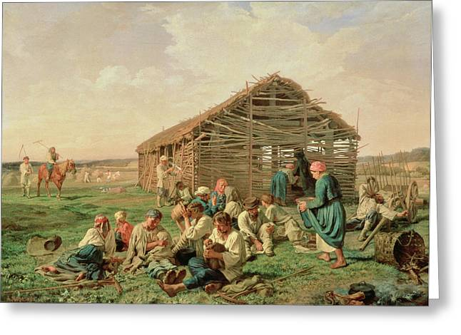 Breast Feeding Greeting Cards - Rest During Haying, 1861 Oil On Canvas Greeting Card by Aleksandr Ivanovich Morozov
