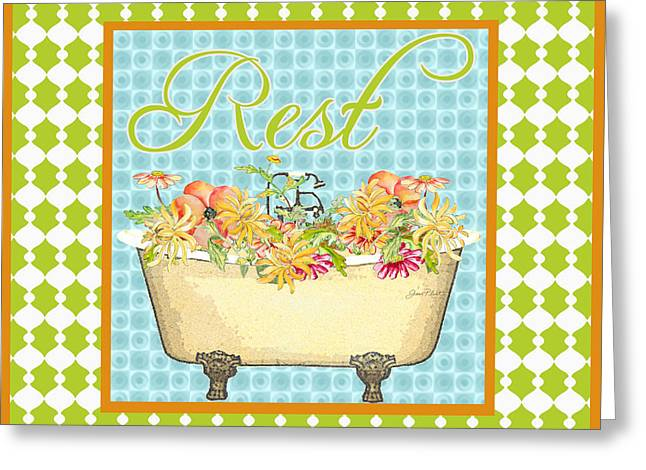 Unwind Digital Greeting Cards - Rest-Floral Bath Art Greeting Card by Jean Plout